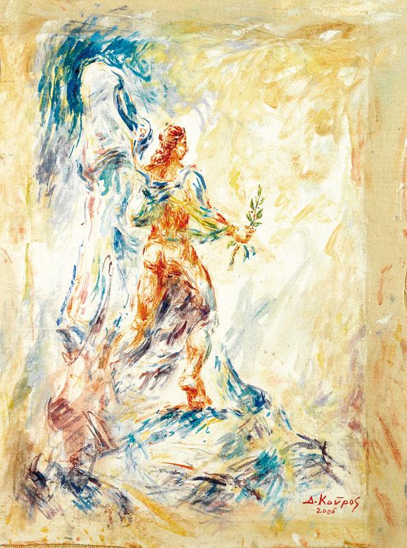 Ευλογίας Άγγελος_Ζωγραφικός πίνακας Δημήτρη Κούρου,