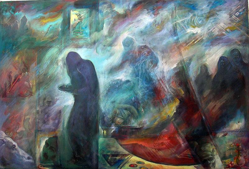 Θρήνος και έλεος μες την καταστροφή_Ζωγραφικός πίνακας Δημήτρη Κούρου