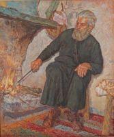 Συδαυλίζοντας τη φωτιά_Ζωγραφικός πίνακας Δημήτρη Κούρου